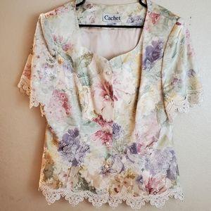 Vintage Cachet Floral Lace Drapery Prairie Jacket